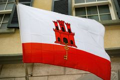 旗子在直布罗陀 库存图片