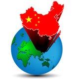 旗子地球上的中国地图 库存照片