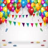 旗子气球和五彩纸屑 向量例证