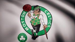 旗子的动画与篮球波士顿凯尔特人队的标志的 社论动画 库存例证