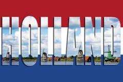 旗子荷兰风车 库存图片