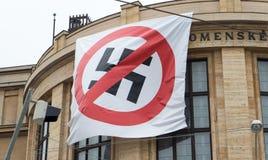 旗子-停止法西斯主义 免版税库存照片