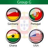 旗子-橄榄球巴西,小组G -德国,葡萄牙,加纳,美国 库存图片