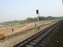 无保护的铁路线是事故的原因 库存图片