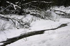 无冰的河在冷的多雪的冬天 33c 1月横向俄国温度ural冬天 免版税库存照片