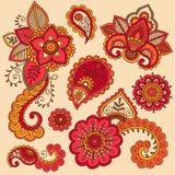 无刺指甲花五颜六色的Mehndi纹身花刺乱画向量 库存图片