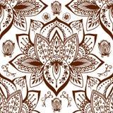 无刺指甲花纹身花刺mehndi花乱画装饰装饰印地安设计无缝的样式佩兹利蔓藤花纹点缀 向量例证