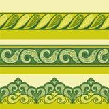 无刺指甲花装饰无缝的边界 Mehndi样式 花卉绿色颜色边界, gorizontal无缝的样式 库存图片