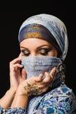 无刺指甲花,时尚,女孩,构成,纹身花刺,面纱,东方人, musl夫人, 图库摄影