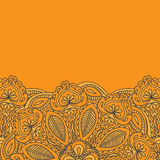 无刺指甲花Mehndi卡片模板 Mehndi邀请设计、元素装饰邀请的和卡片,花卉线艺术佩兹利ornam 库存照片