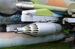 无向导的导弹发射器在战斗机的 库存图片