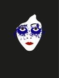 无声电影女演员的例证面孔有蓝色阴影的 免版税库存图片