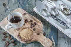 无奶咖啡和蔗糖 库存照片