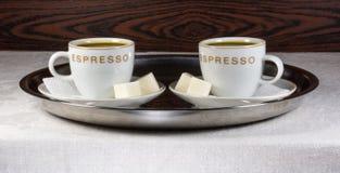 无奶咖啡托起二 库存图片