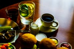 无奶咖啡用在小部分的集合开胃菜,健康和 图库摄影