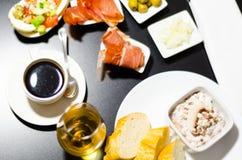 无奶咖啡用在小部分的集合开胃菜,健康和 库存图片