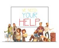 无家可归的人动画片样式例证 库存例证