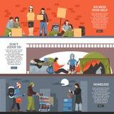 无家可归的人水平的横幅集合 免版税库存照片