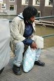 无家可归的人照片布拉格哀伤的街道 免版税库存照片