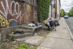 无家可归的人照片布拉格哀伤的街道 免版税图库摄影