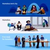 无家可归的人水平的横幅 向量例证