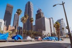 无家可归的扎营,街市洛杉矶 免版税库存照片
