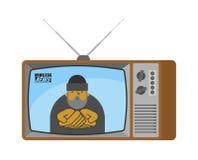 无家可归的新闻老电视 叫化子广播新闻工作者叫花子Anc 向量例证