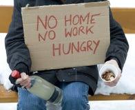 无家可归的饥饿的失业者 库存照片