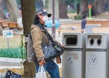 无家可归者在上野公园,在东京 库存图片