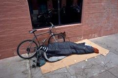 无家可归者在旧金山加利福尼亚 免版税图库摄影