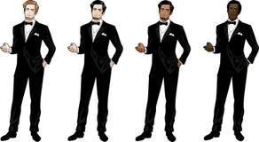 黑无尾礼服和蝶形领结的人 免版税库存图片