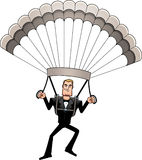无尾礼服跳伞的动画片间谍 皇族释放例证