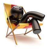 无忧无虑的人放松室外使变冷的海滩轻便折叠躺椅的夏天 向量例证