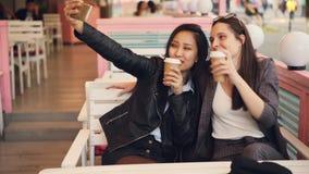 无忧无虑的女孩采取selfie与去掉喝一起坐在咖啡馆和使用智能手机 少妇是 股票视频