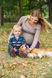 无忧无虑的家庭场面在秋天公园 免版税库存图片