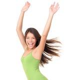 无忧无虑的查出的快乐的妇女 库存图片