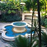 无所事事的喷泉在热带公园 免版税库存照片