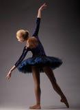 无法认出的芭蕾舞女演员在演播室,蓝色芭蕾舞短裙成套装备 古典芭蕾艺术 后面射击 库存照片
