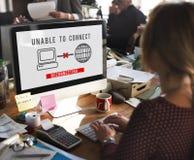 无法连接断开错误失败问题概念 免版税图库摄影