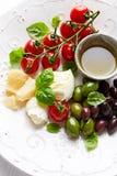 无盐干酪、巴马干酪、西红柿和橄榄开胃小菜 免版税库存图片