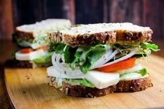 无盐干酪、蕃茄和新鲜的蓬蒿三明治 库存照片