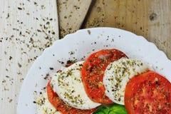 无盐干酪、蕃茄和蓬蒿- caprese沙拉意大利人食物 免版税库存照片