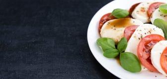 无盐干酪、蕃茄和Balasmico选矿 图库摄影