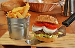 无盐干酪乳酪汉堡 免版税库存图片