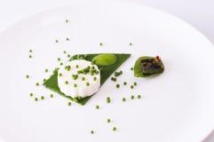 无盐干酪布丁、菠菜鱼子酱、菠菜调味汁和绿色pape 图库摄影