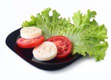 无盐干酪的部分用蕃茄、莴苣叶子和芳香抚人的选矿在黑色的盘子 选择聚焦特写镜头射击 图库摄影