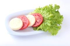 无盐干酪的部分用蕃茄、莴苣叶子和芳香抚人的选矿在白色板材 选择聚焦特写镜头射击 库存图片