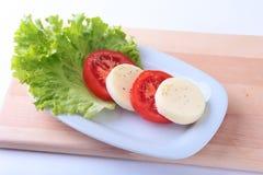 无盐干酪的部分用蕃茄、莴苣叶子和芳香抚人的选矿在白色板材 选择聚焦特写镜头射击 免版税库存照片