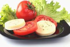 无盐干酪的部分用蕃茄、莴苣叶子和芳香抚人的选矿在黑色的盘子 选择聚焦特写镜头射击 库存照片