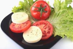 无盐干酪的部分用蕃茄、莴苣叶子和芳香抚人的选矿在黑色的盘子 选择聚焦特写镜头射击 库存图片